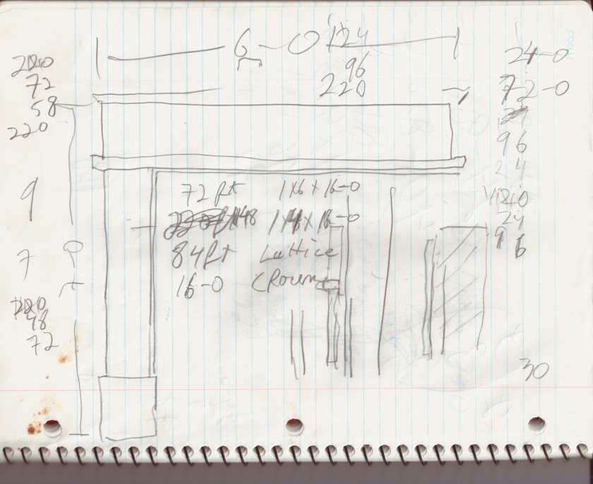 Our friend who knows everything drew up some rough plans to help us evaluate our trim needs especially around the large openings.
