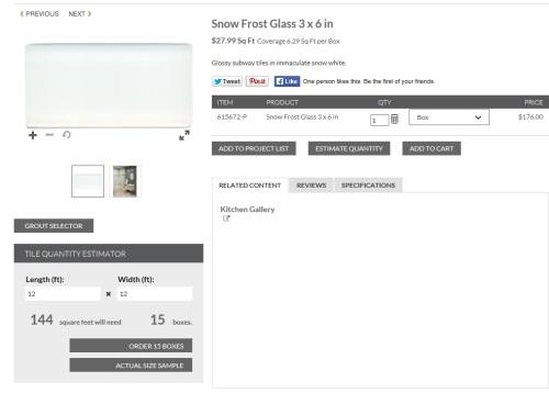 Glass tile on the Tile Shop website.