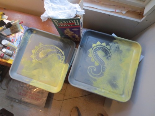My first attempt at painting the yellow trays was hideous.