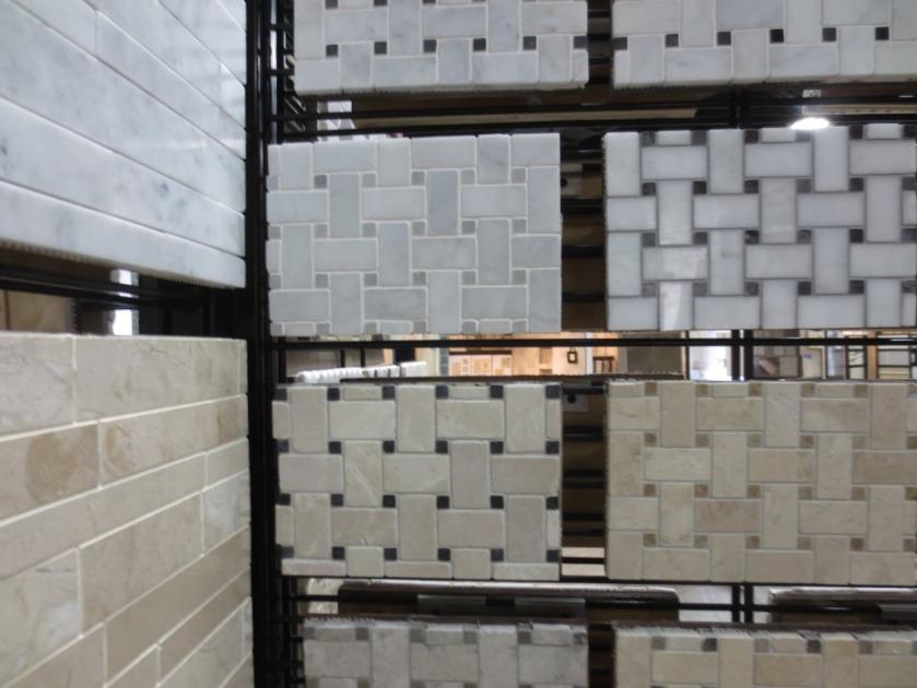 Basketweave marble tile bathroom