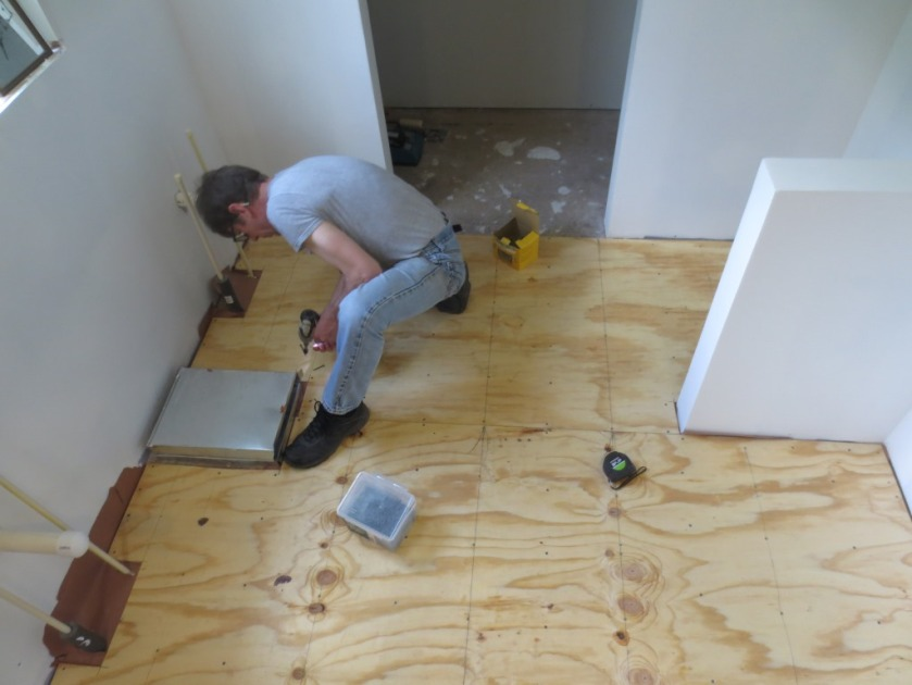 """Charlie used 2"""" screws into the joists (marked by the pencil lines) and 1-5/8"""" screws elsewhere."""