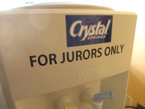 The water jug in the jury room was clearly labeled. I'm not sure who else who actually be there to drink other than jurors.