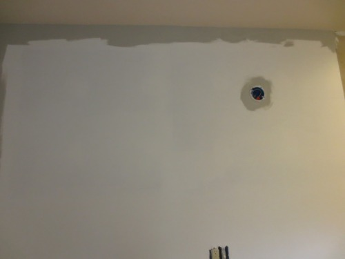 I used my freshly cleaned paintbrush to cut in the edges of the wall.