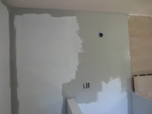 The painting in the bathroom went quickly since half of the room will be tiled.