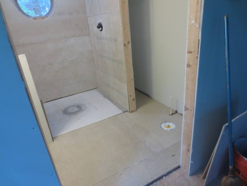 Conservatory bathroom is ready for waterproofing and tiling.