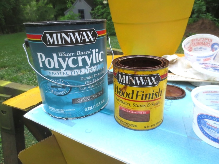 These polycrylic and oil stain don NOT mix until you add some  paint, then it all smooths out.