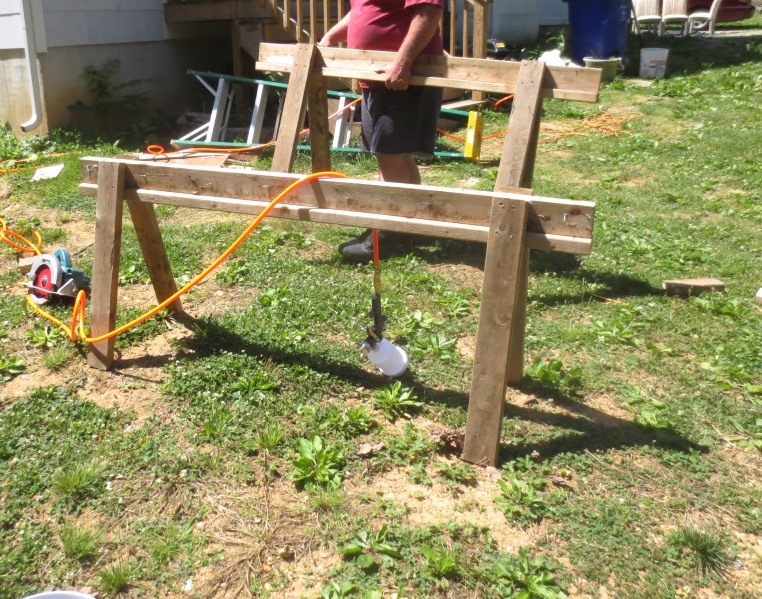 These super long and low saw horses were perfect for spray painting.