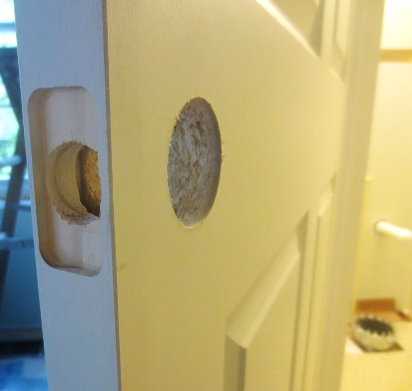 The door was perfectly pre-drilled for the handle set.