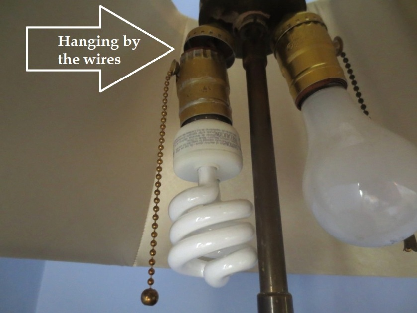 I rewired this old lamp myself but should have changed the pull chain to a switch.
