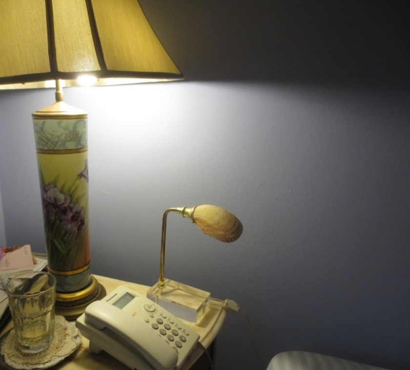 I have been able to remove the shell lamp now that I have an easy way to turn on the tall lamp.