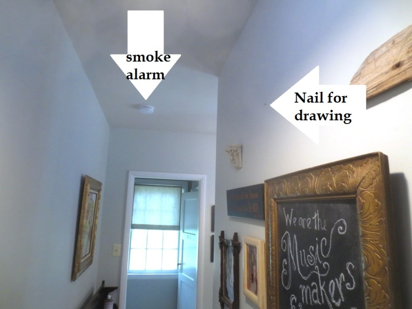 The smoke alarm is a good 6-feet away from the picture that fell -- almost in another room actually.