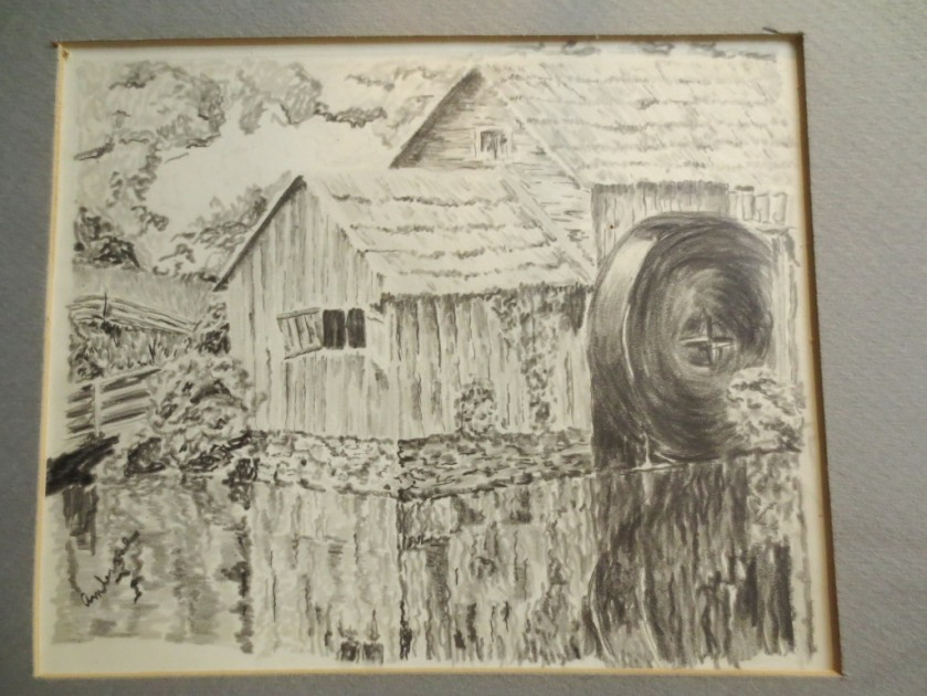 A pencil drawing of an old mill.
