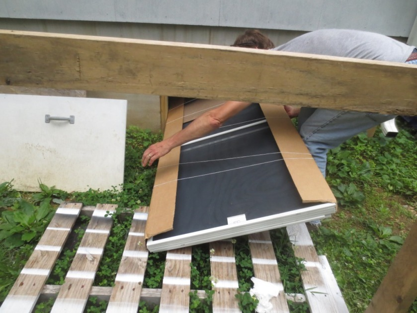 The screen package just fit through the crawlspace entry hole.