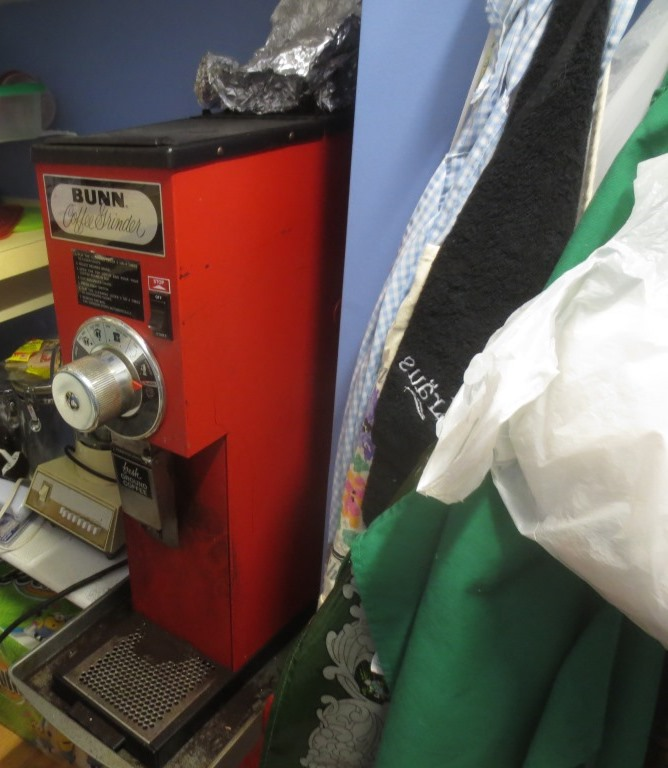 We keep our oversized coffee grinder in the pantry.