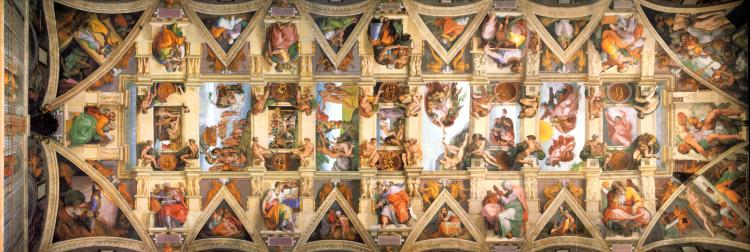The Sistine Chapel ceiling in the Vatican in Rome.