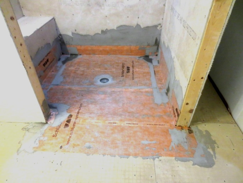 The conservatory bathroom will have tiled floors, shower walls and bench.