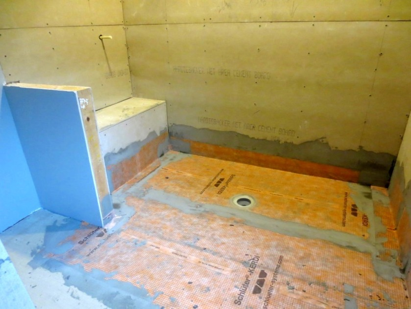 The master shower waterproofing comes out onto the floor of the bathroom.