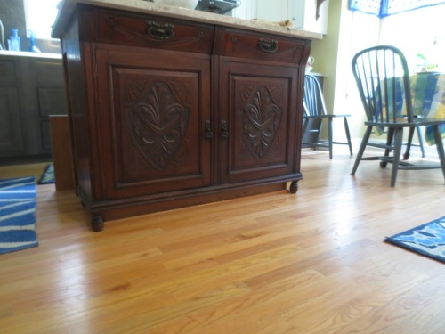 This project on my June list -- face the kitchen island toe kick -- was finally completed in July.