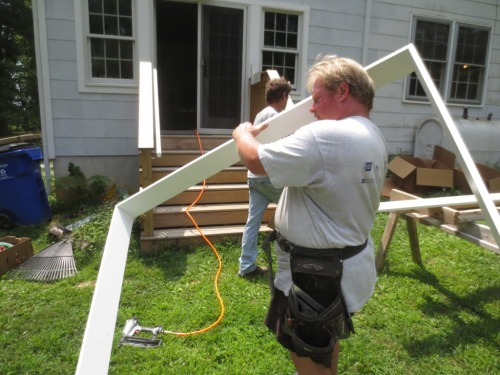 The frame was tacked together in the yard and carried into the house.