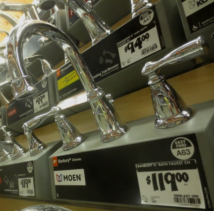 Moen Banbury -- $119 in chrome, $139 in satin nickel.