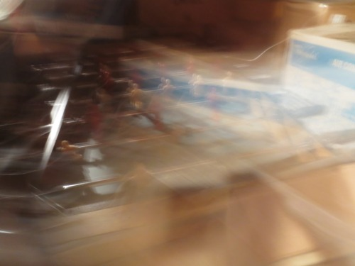 Art photo of the foosball table in the attic.