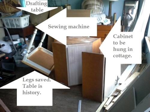 Clutter projects stored in the Cottage.