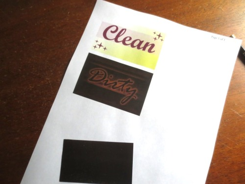 "The graphic: ""Clean"" and ""Dirty"" and a business-card size magnet."