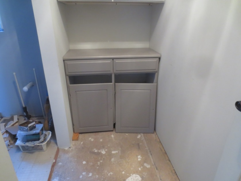 We must lay a floor before the linen closet gets permanently set in place.