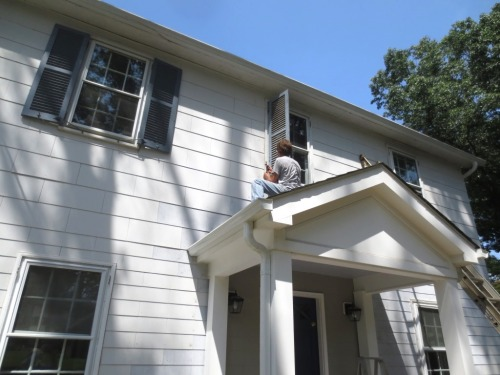 Charlie removed the second floor shutters.