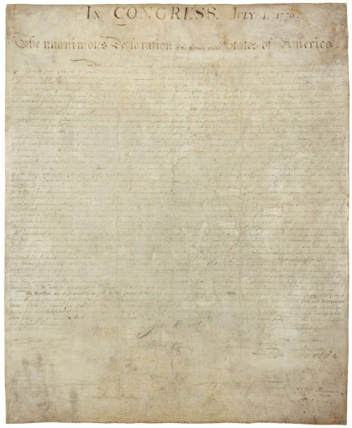 The original copy of the Declaration of Independence is written in fermented pokeberry ink which has faded.
