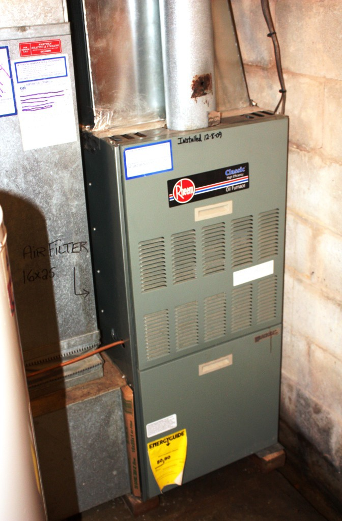 This furnace was installed in 2009, before the renovation began (2013) but with it in mind.