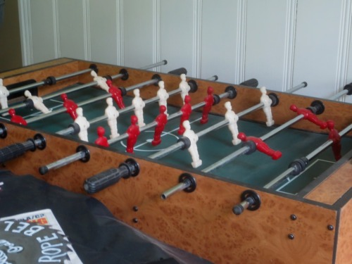 The foosball table is right where I want to be and not easily moved.