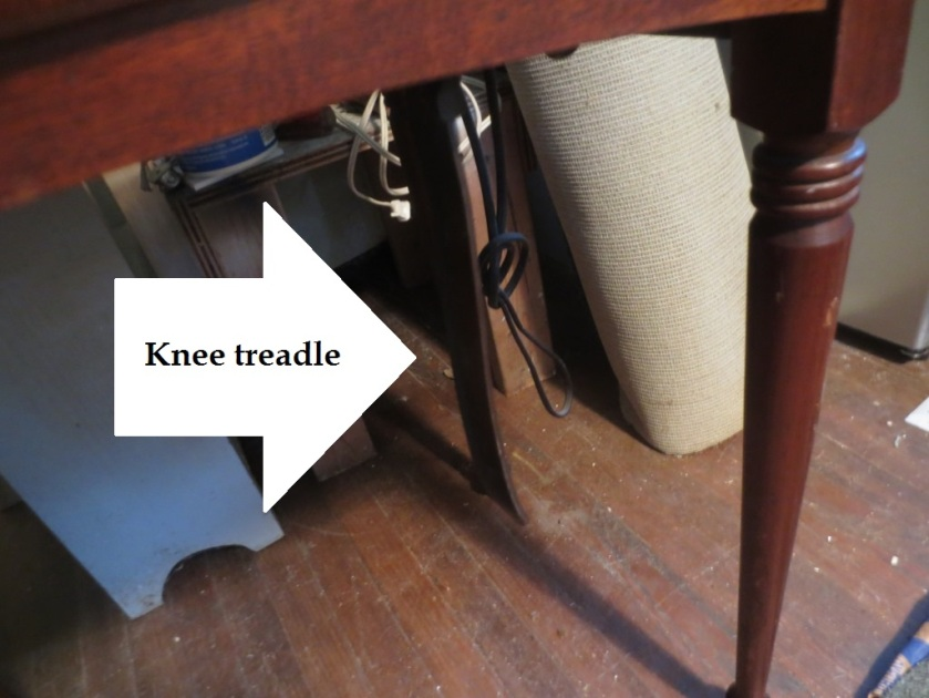 The knee treadle is more subtle than a foot pedal.