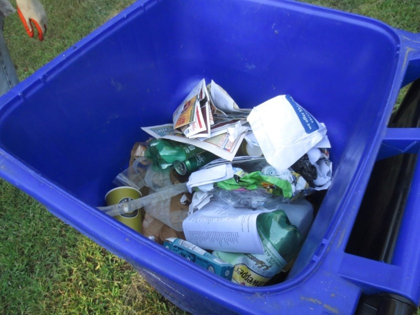 County comes by once a week for mixed recycling.