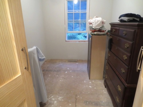 Before the closet gets configured with hanging racks we need to install a floor.
