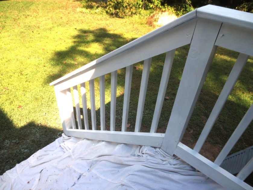 The safety railing will be returned to the right side of the main railing when the paint dries.