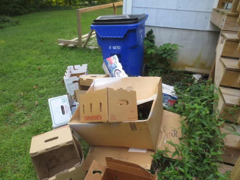 All of these boxes need to be broken down and put in our recycling bin.