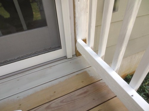 I started staining the deck near the French doors.