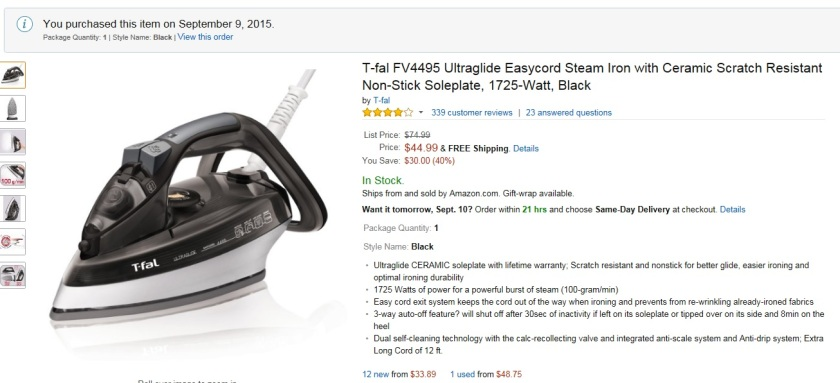 After some research I bought a TFal steam iron for our anniversary.