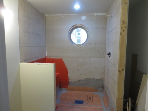 Conservatory shower -- the fixtures are on the right-hand wall.