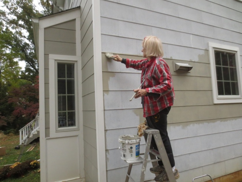 Here I am on the 6-foot ladder paining the driveway side of the kitchen wall.