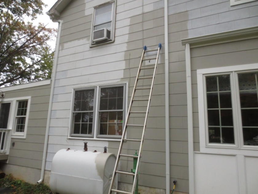 I left areas above my reach unpainted until the 24-foot ladder is reunited.