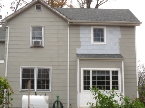 The final unpainted section was on the back of the house.