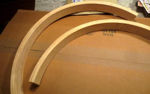 The semi-circles are laminated wood.