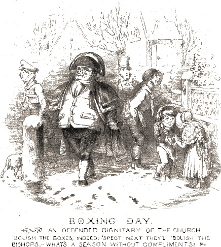 An illustration that would be perfect for a Boxing Day party invitation.