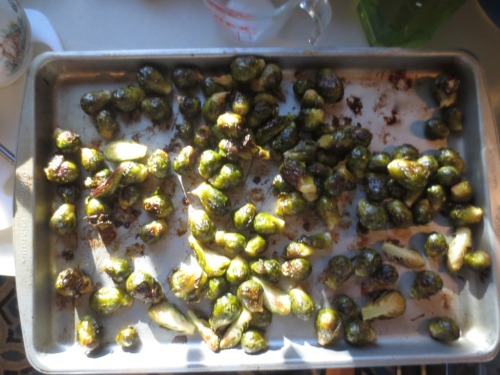 After roasting the Brussels sprouts were tossed with balsamic vinegar.