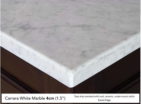 We opted for the 4cm eased-edge marble top which in itself weighs a lot..