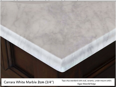 The ogee edge on 2 cm thick marble.