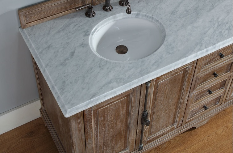 The vanity comes with integrated undermount sinks.