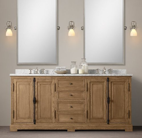 I was attracted to this French Casement double vanity with marble top at Restoration Hardware which, even on sale, was out of my price range.